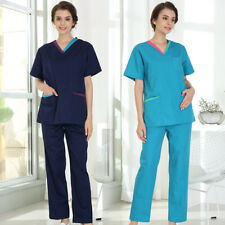 Women Scrub Suit Doctor Nurse V-Neck Style Workwear Lab Ventilate Tops Pants Set