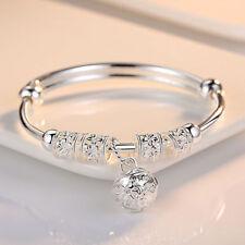 Fashion Women Jewelry 925 Sterling Silver Plated Cuff Bracelet Charm Bangle Gift