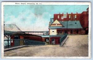 1926 WHEELING WEST VIRGINIA*WV*PENN. DEPOT*PENNSYLVANIA LINE RAILROAD*TRAIN