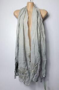 "BNWT HEM & EDGE grey & pink appliqué floral fine lightweight 17""x 69"" scarf"