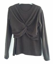 Size S/M Unusual Front Twist Knot Layered Jumper, Chocolate Brown, Long Sleeves