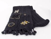 """One Girl Who NEW 76"""" x 9"""" Black Gold Amber White Applique Beaded Scarf D220"""