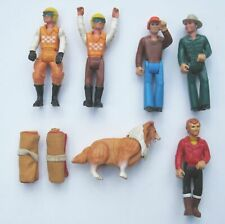 """1974 Lot 6 Fisher Price Adventure People w/Dog and Sleeping Bags 3.5"""" Figures"""