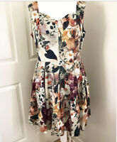 Joe Browns Floral Print Dress Brown Fit & Flare Sleeveless Cotton UK18 Plus Size