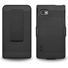 BLACK SHELLSTER HARD SHELL HOLSTER CASE WITH STAND  FOR LG OPTIMUS F3 MS659