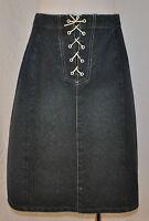 GLORIA VANDERBILT Chic Urban Hippie Blue Denim Jean Skirt Grommet Lace up P14