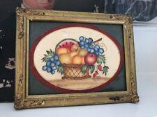 Signed Antique Theorem Watercolor Fruit Basket Folk Art Gilded Frame