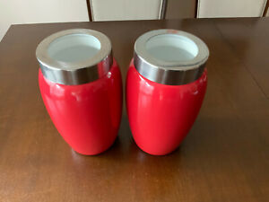 """2 Authentic Kitchen red Glazed Ceramic Canister airtight glass lid 8"""" tall"""