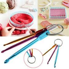 3x Aluminum Knit Needle Handle Crochet Hook Needle Weave Yarn Keychain Keyring S