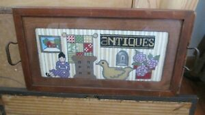 Antique Wood Tray Needlepoint Insert Quilt Floral Chicken Table Wall Hanging Vtg