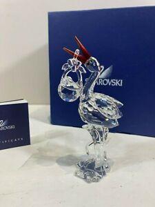 Swarovski Crystal Figurine Stork With Baby 7644 000 000 / 659401 MIB W/COA