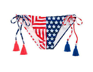 Victorias Secret Red White Blue Stars Stripes Flag Teeny Bikini Bottom L Large
