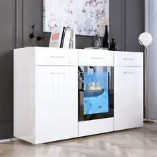 High Gloss White Led Storage Cabinet Sideboard Buffet Cupboard Dining Room