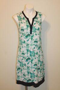 Tommy Bahama Slub Knit V-Neck A-Line Dress sz M White Blue Multicolor