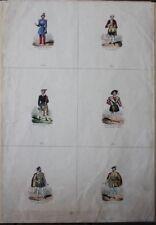 """Curiosité Romantique """"Revue de Costumes"""" 6 planches miniatures non coupées"""