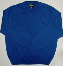 Mens XL Chaps Cotton Cashmere Blue V-Neck LS Sweater 36 Sleeve