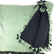 "Blanket Sofa Fleece Throw Fringed Reversible Black & Green 38"" x 52"" NWOT"