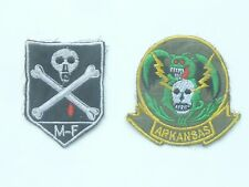 2 GENUINE US ARMY VIETNAM WAR CLOTH BADGES / PATCHES MIKE FORCE / ARKANSAS SKULL