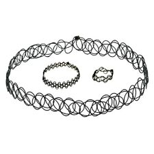 3pcs Set Women Black Stretch Choker Necklace Bracelet Ring Gothic Tattoo Retro