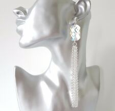 Stunning LONG silver tone - AB diamante bead  CLIP ON chain tassel earrings