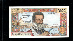 Billet 5000 Francs Henry IV 06/03/58 TTB Fay 49-06