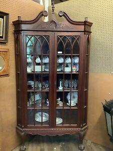 "Mahogany Corner Display Cabinet 88 1/2"" Tall"