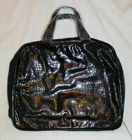 Saks Fifth Avenue Women's Vintage Handbag Black Glossy Crocodile Skin NEW