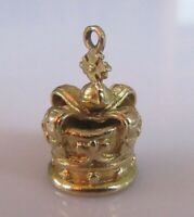 9ct Gold Charm - Vintage 9ct Yellow Gold Crown Jewels Charm (3.2g)