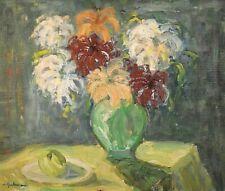 Tableau ancien Huile Nature morte fleurs dans un vase et citron signé début XXe
