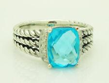 David Yurman Sterling Silver Wheaton Petite Diamond Blue Topaz Ring Size: 7.5