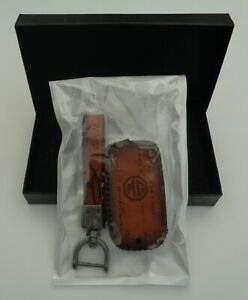 MG ZS EXECUTIVE TAN LEATHER CAR KEY FOB COVER EXCLUSIVE TO US/ ORIGINAL MG LOGO