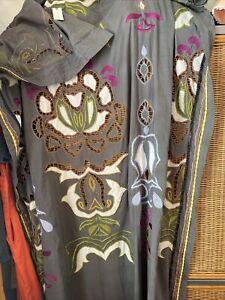 "One PANEL 50"" x 84"" Anthropologie Gray Savieh Embroidered Window Curtain"
