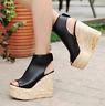 2018 Stylish Ladies Open Toe Platform High Wedge Heels Sandals Shoes Plus Sz New