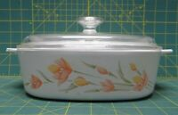 Vintage Corning Ware A-2-B 2-Liter Peach Floral Baking Dish w/ Pyrex A-9-C Lid