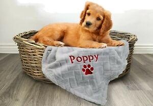 Personalised Dog/Puppy or Cat/Kitten Fleece Blanket. Embroidered Name. Pet Gift.