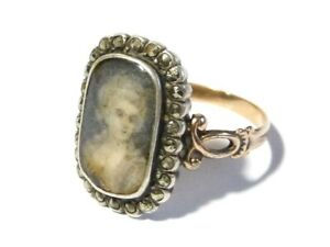 Antique Georgian French Silver Gold Ring Portrait Miniature & Marcasite Mourning