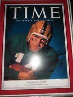 JOHNNY LATTNER SIGNED 8X10 PHOTO HEISMAN NOTRE DAME FIGHTING IRISH 1953 TIME MAG