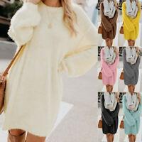 Women Autumn Winter Sweater Knit Warm Long Sleeve Pocket Mini Sweater Dress Tops