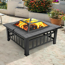 New listing Outsunny Steel Square Outdoor Patio Wood Burning Fire Pit Table Top Set Black