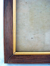 Vtg 9x11 / 10x12 Faux Wood & Brass Tone Metal Photo Frame & Glass Hang or Easel