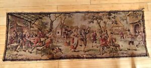 Vintage Belgium Tapestry 56x19 in Victorian Life Scene w Dance, Music, Gathering