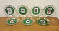 """Set of 7 Round Circle Glass Playing Card Coasters 4"""" Poker Joker Ace King Queen"""