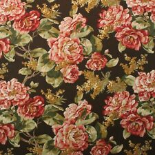 "BRAEMORE ROSES BROWN POLYESTER STAIN RESISTANT MULTIUSE FABRIC BY THE YARD 54""W"