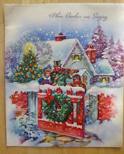 3D CAROLERS AT GATE VINTAGE PRE 1950 SIGNED CHRISTMAS HOLIDAY CARD  by DOEHLA