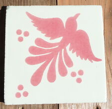 """10~MEXICAN TALAVERA POTTERY 4"""" tile Hand Painted  kiln fired PINK Off white Bird"""