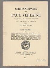 Correspondance de Paul Verlaine Tome 3  1929