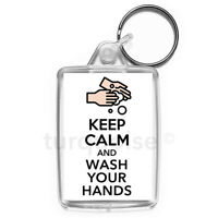 Virus Keep Calm Wash Your Hands Carry On Keyring Gift Key Fob | Medium Size