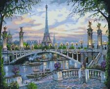 Framed Paint by Number kit Paris City Eiffel Tower and Bridge On Seine LY7014