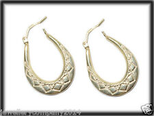 9ct Gold Creole patterned earrings 26mm x 20mm ER0848 Jewellery Company