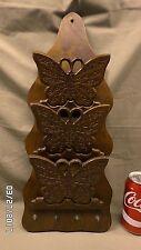 """1919M Vtg Butterflies Walnut Wood Letter Holder/4 Key Holder Wall Hung 19"""" Tall"""